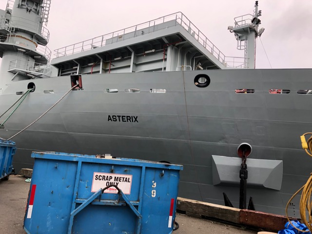A picture of the side of MV ASTERIX alongside in Victoria, British Columbia.